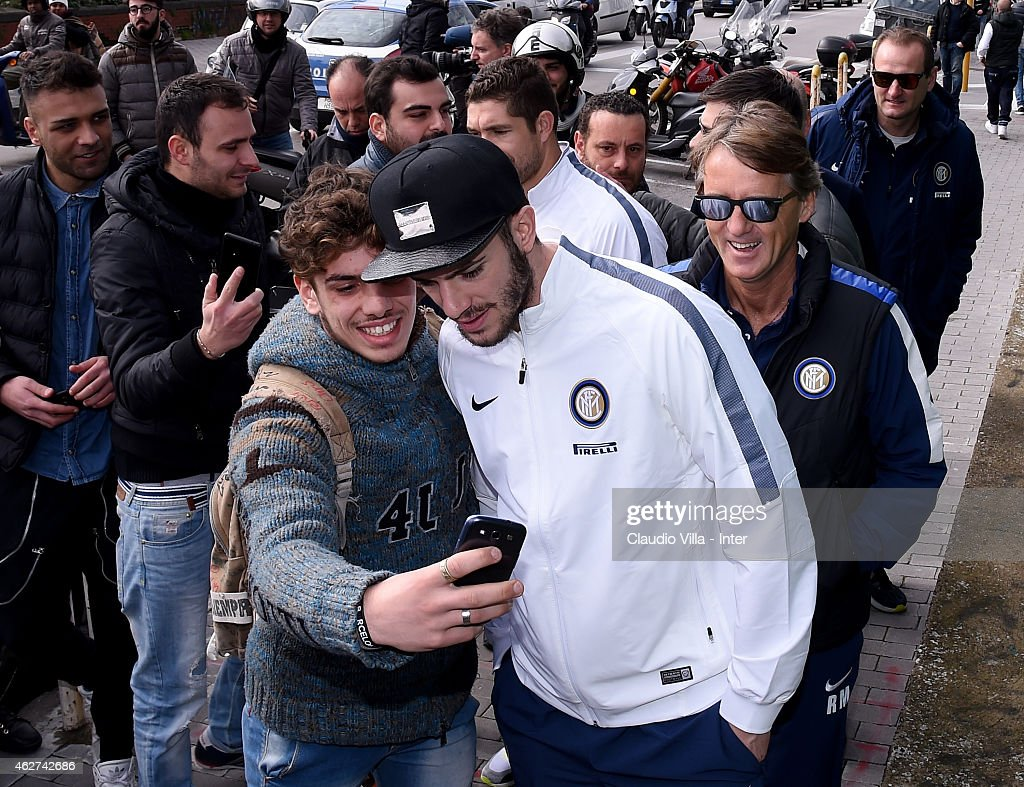 Davide Santon of FC Internazionale walks outside the hotel prior to the TIM Cup match between SSC Napoli and FC Internazionale at Stadio San Paolo on...