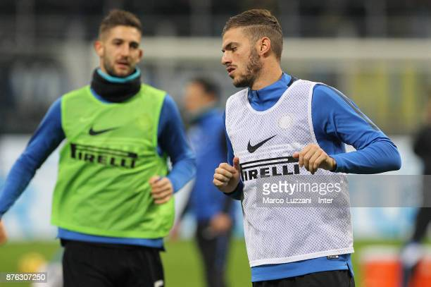 Davide Santon of FC Internazionale warms up ahead of the Serie A match between FC Internazionale and Atalanta BC at Stadio Giuseppe Meazza on...
