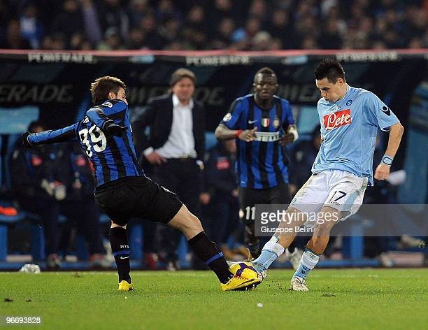 Davide Santon of Inter and Marek Hamsik of Napoli in action during the Serie A match between SSC Napoli and FC Internazionale Milano at Stadio San...