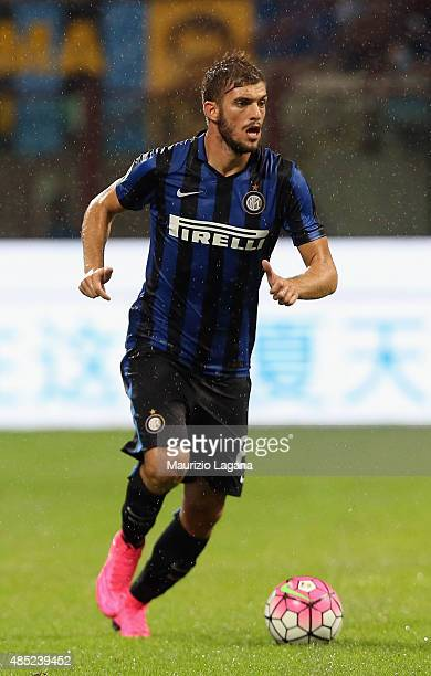 Davide Santon of Inter during the Serie A match between FC Internazionale Milano and Atalanta BC at Stadio Giuseppe Meazza on August 23 2015 in Milan...