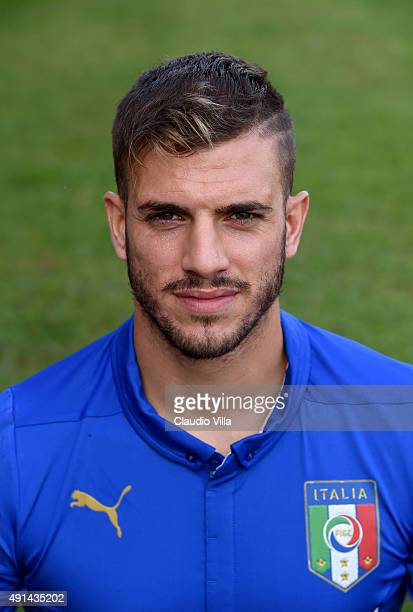 Davide Santon of Italy poses for a portrait session at Coverciano on October 5 2015 in Florence Italy