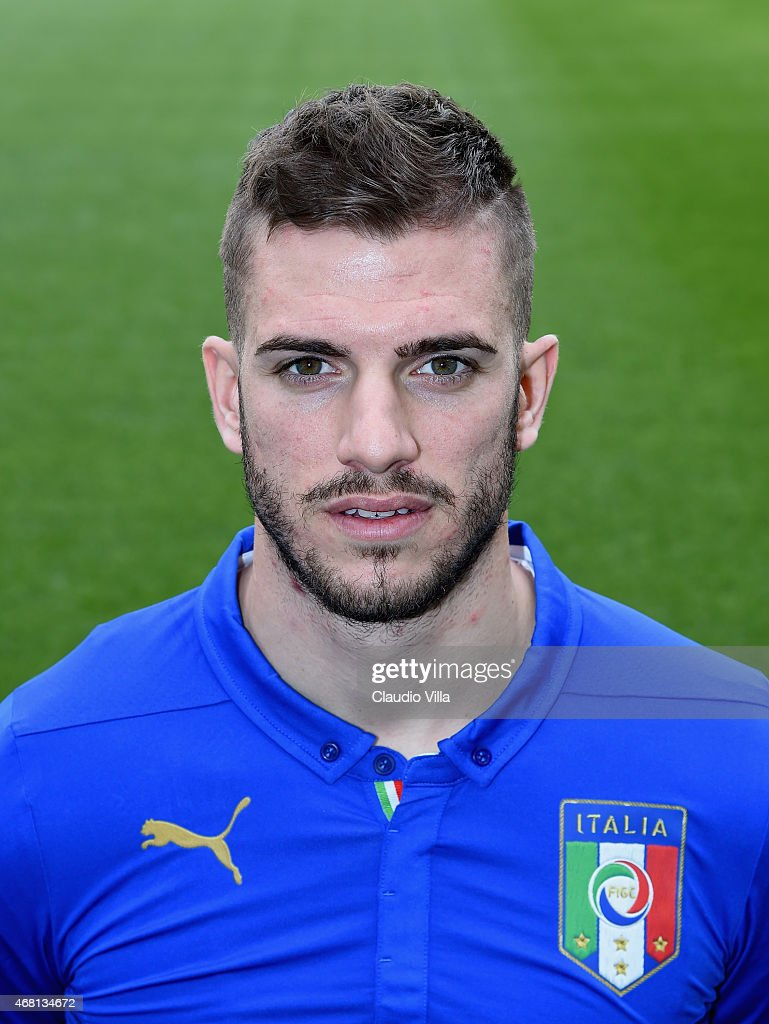 <a gi-track='captionPersonalityLinkClicked' href=/galleries/search?phrase=Davide+Santon&family=editorial&specificpeople=5679382 ng-click='$event.stopPropagation()'>Davide Santon</a> of Italy poses prior to the Training Session at Juventus Arena on March 30, 2015 in Turin, Italy.