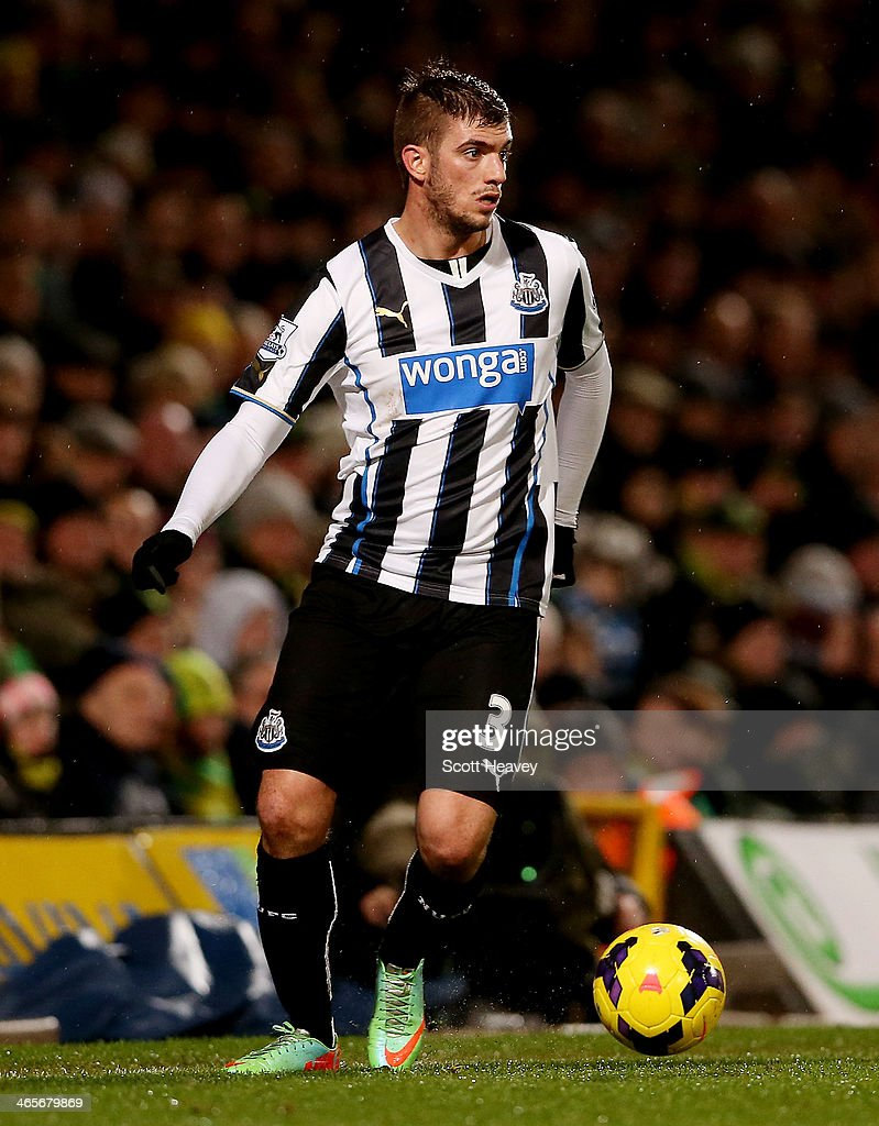 Davide Santon of Newcastle during the Barclays Premier League match between Norwich City and Newcastle United at Carrow Road on January 28 2014 in...