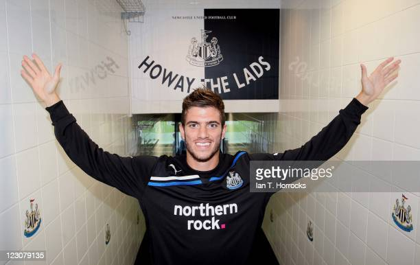 Davide Santon poses after signing for Newcastle United from Inter Milan at St James' Park on August 30 2011 in Newcastle United Kingdom