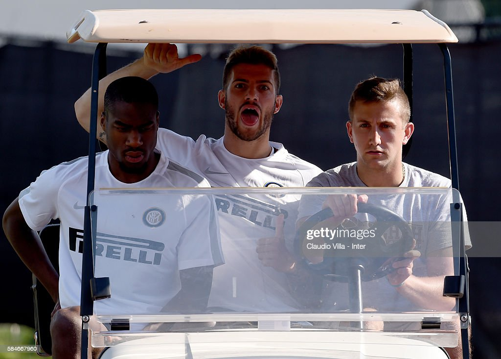 Davide Santon reacts prior to the FC Internazionale training session at Montclair State University on July 29 2016 in Montclair United States