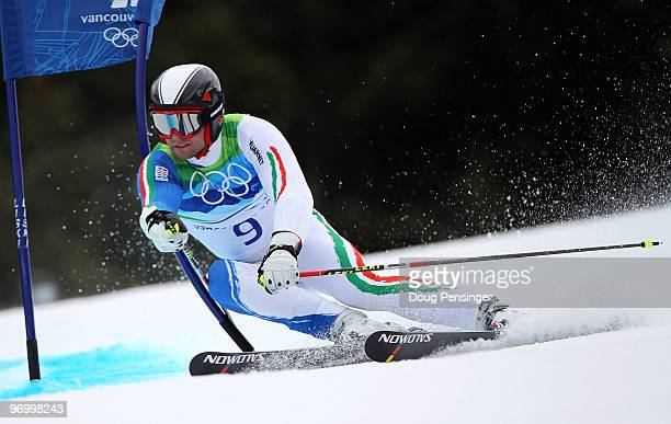 Davide Simoncelli of Italy competes during the Alpine Skiing Men's Giant Slalom on day 12 of the Vancouver 2010 Winter Olympics at Whistler Creekside...