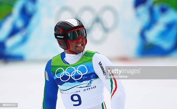 Davide Simoncelli of Italy reacts at the end of his second run during the Alpine Skiing Men's Giant Slalom on day 12 of the Vancouver 2010 Winter...