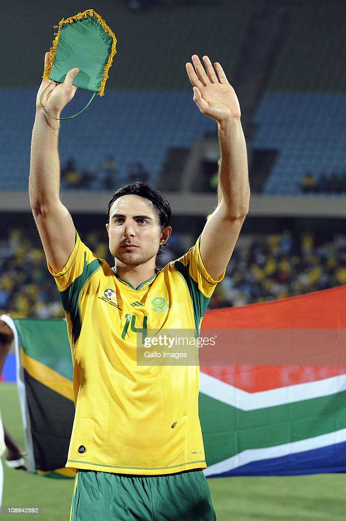 Davide Somma of South Africa acknowledges the supporters after victory in the International friendly match between South Africa and Kenya at Royal Bafokeng Stadium on February 09, 2011 in Rustenburg, South Africa.