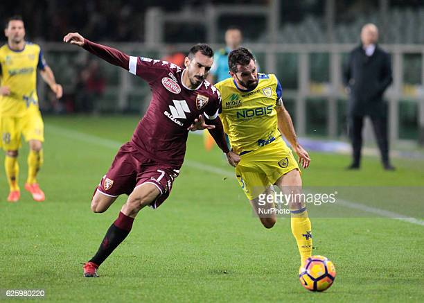 Davide Zappacosta and Sergio Pellissier during Serie A match between Torino v Chievo Verona in Turin on November 26 2016