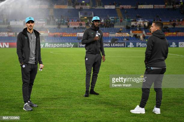 Davide Zappacosta Antonio Rudiger and Eden Hazard of Chelsea ahead of the UEFA Champions League group C match between AS Roma and Chelsea FC at...