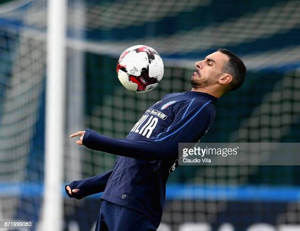 Davide Zappacosta in action during the training session at Italy club's training ground at Coverciano on November 9 2017 in Florence Italy