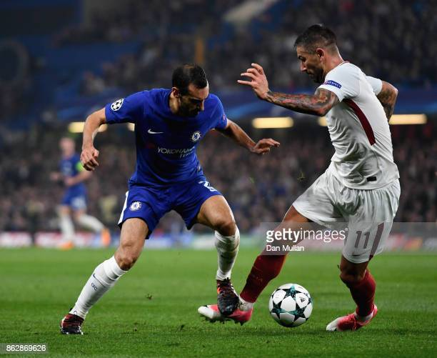 Davide Zappacosta of Chelsea and Aleksandar Kolarov of AS Roma battle for possession during the UEFA Champions League group C match between Chelsea...