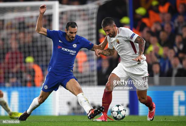 Davide Zappacosta of Chelsea and Aleksandar Kolarov of AS Roma during the UEFA Champions League group C match between Chelsea FC and AS Roma at...