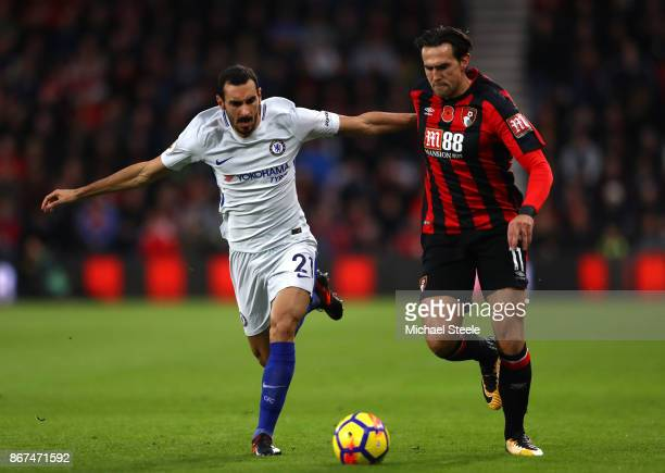 Davide Zappacosta of Chelsea and Charlie Daniels of AFC Bournemouth battle for possession during the Premier League match between AFC Bournemouth and...