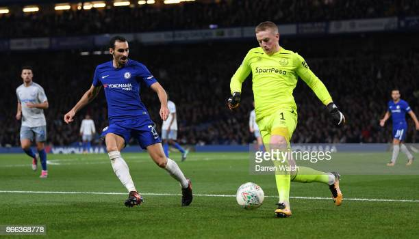 Davide Zappacosta of Chelsea and Jordan Pickford of Everton in action during the Carabao Cup Fourth Round match between Chelsea and Everton at...