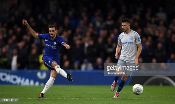 Davide Zappacosta of Chelsea and Kevin Mirallas of Everton in action during the Carabao Cup Fourth Round match between Chelsea and Everton at...