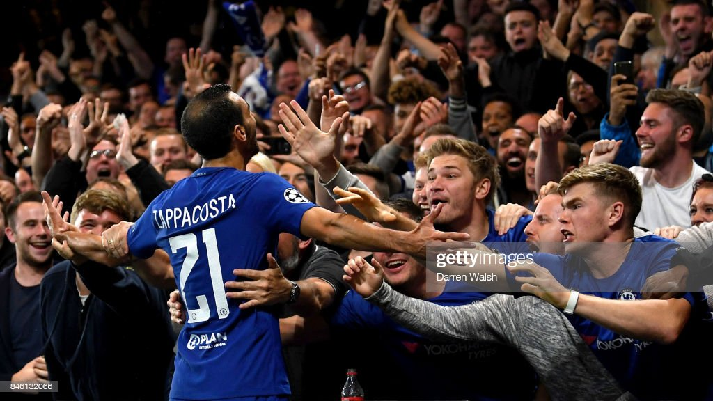 Davide Zappacosta of Chelsea celebrates scoring his sides second goal with the Chelsea fans during the UEFA Champions League Group C match between Chelsea FC and Qarabag FK at Stamford Bridge on September 12, 2017 in London, United Kingdom.