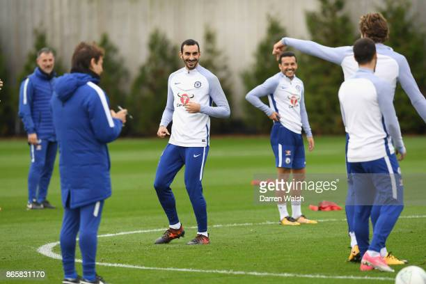 Davide Zappacosta of Chelsea during a training session at Chelsea Training Ground on October 24 2017 in Cobham England