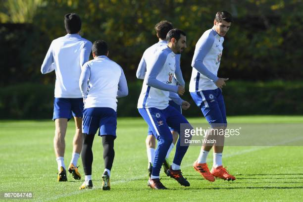 Davide Zappacosta of Chelsea during a training session at Chelsea Training Ground on October 27 2017 in Cobham England
