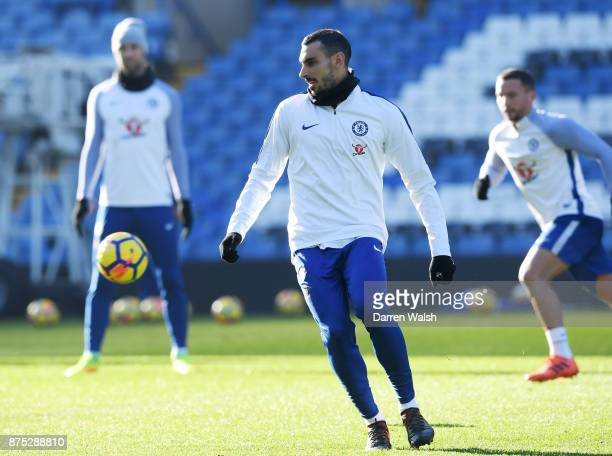 Davide Zappacosta of Chelsea during a training session at Stamford Bridge on November 17 2017 in London England