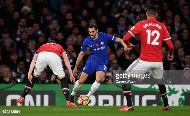 Davide Zappacosta of Chelsea in action during the Premier League match between Chelsea and Manchester United at Stamford Bridge on November 5 2017 in...
