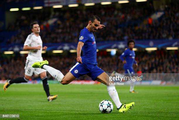 Davide Zappacosta of Chelsea scores his sides second goal during the UEFA Champions League Group C match between Chelsea FC and Qarabag FK at...