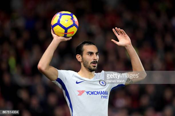 Davide Zappacosta of Chelsea takes a throw in during the Premier League match between AFC Bournemouth and Chelsea at Vitality Stadium on October 28...
