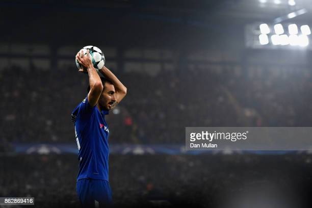 Davide Zappacosta of Chelsea takes a throw in during the UEFA Champions League group C match between Chelsea FC and AS Roma at Stamford Bridge on...