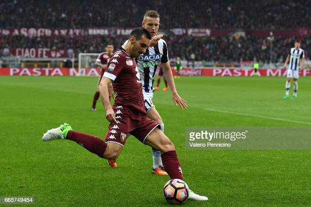 Davide Zappacosta of FC Torino in action against Jakub Jankto of Udinese Calcio during the Serie A match between FC Torino and Udinese Calcio at...