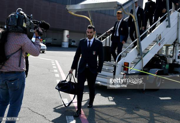 Davide Zappacosta of Italy arrives to Florence Airport on March 25 2017 in Florence Italy