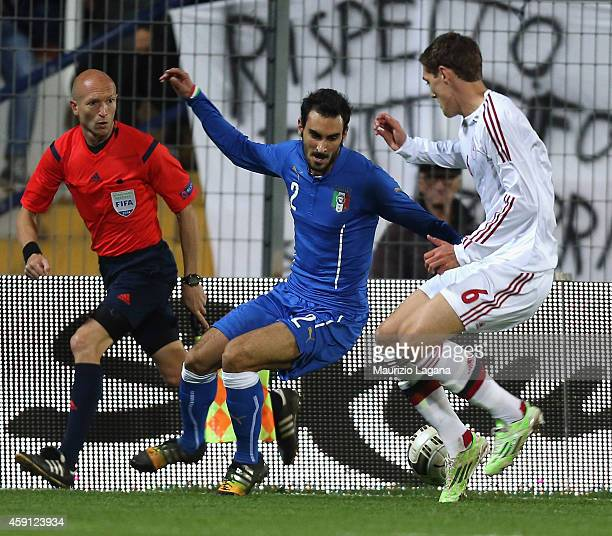 Davide Zappacosta of Italy competes for the ball with Andreas Chistensen of Denmark during the international friendly match between Italy U21 and...