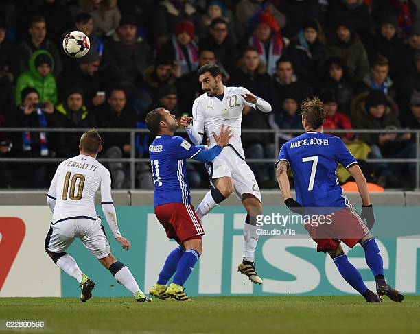 Davide Zappacosta of Italy competes for the ball with Franz Burgmeier of Liechtenstein during the FIFA World Cup 2018 group G Qualifiers football...