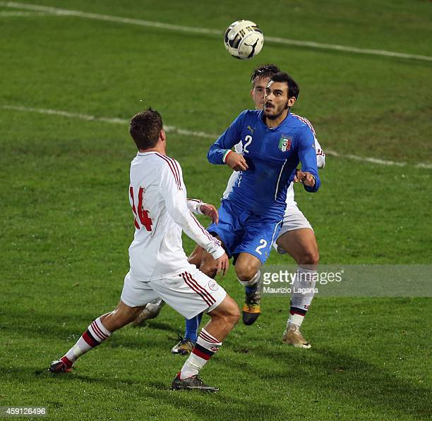Davide Zappacosta of Italy competes for the ball with Jeppe Andersen of Denmark during the international friendly match between Italy U21 and Denmark...