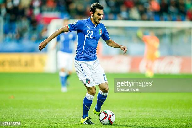 Davide Zappacosta of Italy controls the ball during the UEFA Under21 European Championship 2015 match between Italy and Portugal at Mestsky Fotbalovy...