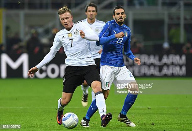 Davide Zappacosta of Italy fights for the ball with Yannick Gerhardt of Germany during the International Friendly Match between Italy and Germany at...