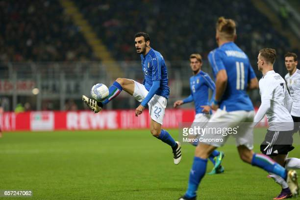 Davide Zappacosta of Italy in action during the International friendly match between Italy and Germany at Giuseppe Meazza Stadium
