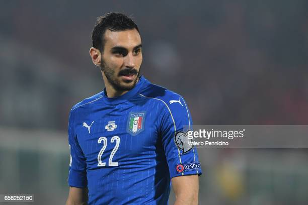 Davide Zappacosta of Italy looks onb during the FIFA 2018 World Cup Qualifier between Italy and Albania at Stadio Renzo Barbera on March 24 2017 in...