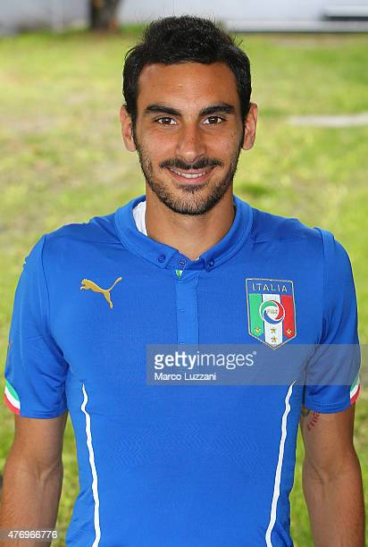 Davide Zappacosta of Italy U21 poses with the shirt during the official Italy U21 portrait session at the training ground on June 13 2015 in Appiano...