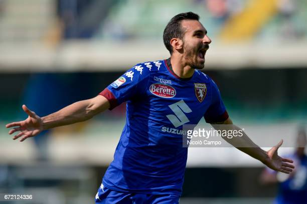 Davide Zappacosta of Torino FC celebrates after scoring a goal during the Serie A football match between AC ChievoVerona and Torino FC Torino FC wins...