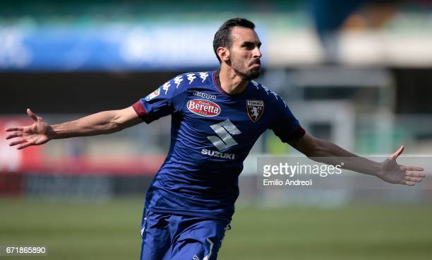 Davide Zappacosta of Torino FC celebrates his goal during the Serie A match between AC ChievoVerona and FC Torino at Stadio Marc'Antonio Bentegodi on...