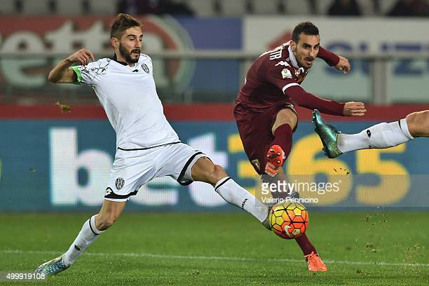 Davide Zappacosta of Torino FC in action against Francesco Renzetti of AC Cesena during the TIM Cup match between Torino FC and AC Cesena at Stadio...