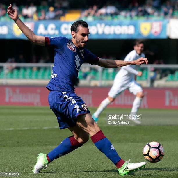 Davide Zappacosta of Torino FC in action during the Serie A match between AC ChievoVerona and FC Torino at Stadio Marc'Antonio Bentegodi on April 23...