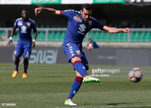Davide Zappacosta of Torino FC scores his goal during the Serie A match between AC ChievoVerona and FC Torino at Stadio Marc'Antonio Bentegodi on...