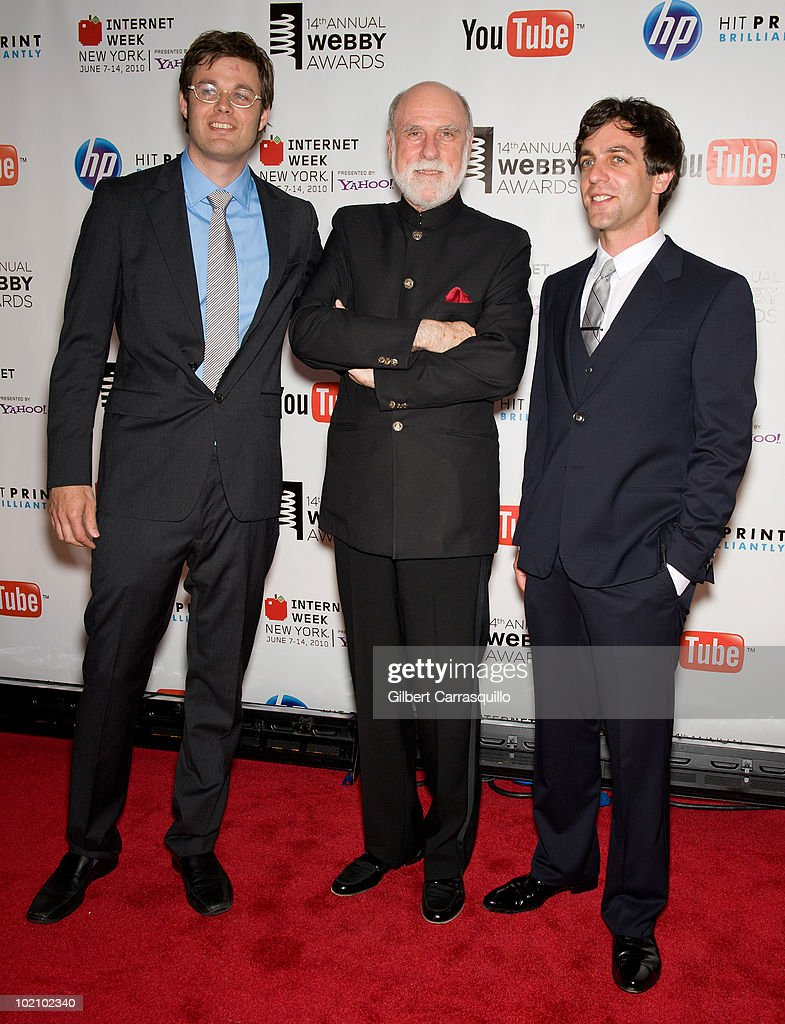 David-Michel Davies, Vinton Cerf and B. J. Novak attend the 14th Annual Webby Awards at Cipriani, Wall Street on June 14, 2010 in New York City.