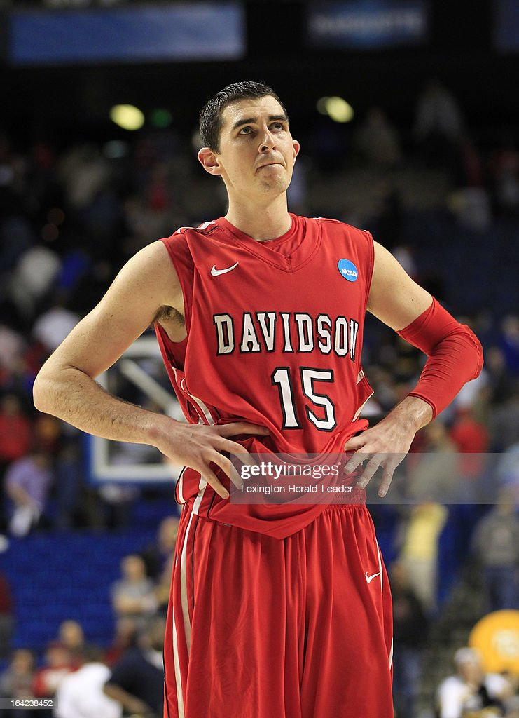 Davidson's Jake Cohen reacts at the end of the Wildcats' game against Marquette in the men's NCAA basketball tournament at Rupp Arena in Lexington, Kentucky, Thursday, March 21, 2013. The Marquette Golden Eagles defeated the Davidson Wildcats, 59-58.