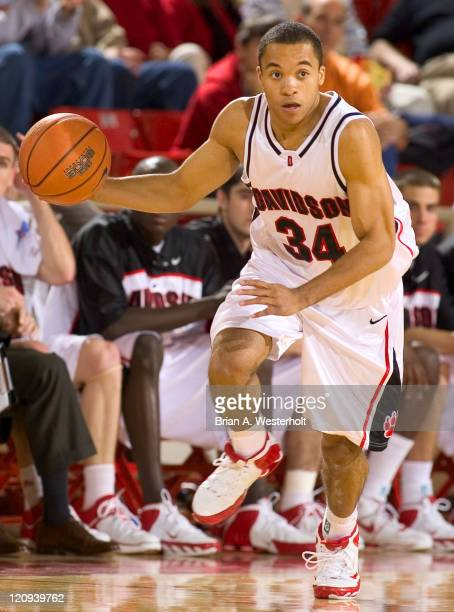 Davidson's Jason Morton brings the ball upcourt during first half action versus Massachusetts at Belk Arena in Davidson NC November 22 2005 The...