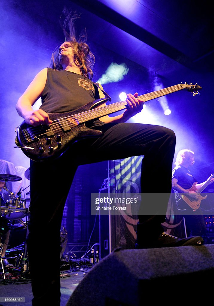Davie Provan of Bleed From Within performs supporting Megadeth at Manchester Academy on June 5, 2013 in Manchester, England.