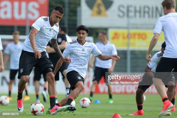 Davie Selke and Mahmoud Dahoud in action during the Germany U21 training on June 13 2017 in Dreieich Germany