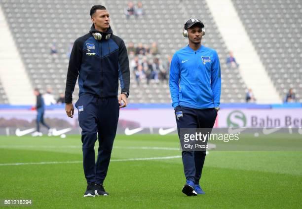 Davie Selke and Valentino Lazaro of Hertha BSC look on before Bundesliga match between Hertha BSC and Schalke 04 on october 14 2017 in Berlin Germany