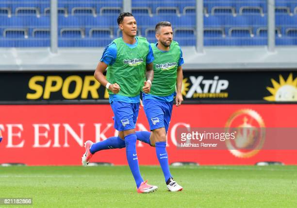 Davie Selke and Vedad Ibisevic of Hertha BSC during the game between Malaga CF and Hertha BSC on july 22 2017 in Duisburg Germany